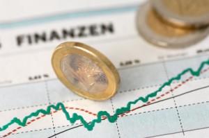 Börsenbericht und Geldmünzen